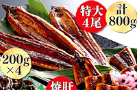 九州産うなぎ蒲焼4尾と焼肝の贅沢セット(寄付金額 16,000円)へのリンク